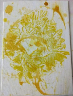 Acrylic & Watercolor Sunflower Trial 1